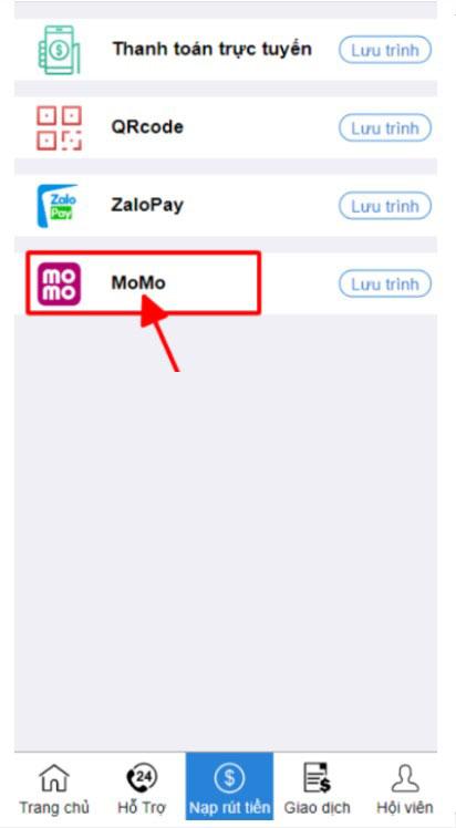 Chọn hình thức nạp Momo